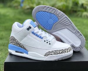Лучшее качество 3s UNC PE Белый доблесть синий цемент серый баскетбол дизайнерская обувь новые пользовательские III слон печати модные кроссовки с коробкой