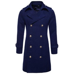 Mens Double Breasted Blends Coats Long Winter Coat Thick Warm Fashion Jackets Slim Fit