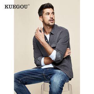 homens KUEGOU Marca corduroy masculina de algodão de lazer outono camisa de manga longa camisa morna BC-6613