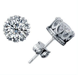 Band New Crown Wedding Stud Earring 2020 New 925 Sterling Silver CZ Simulated Diamonds Engagement Beautiful Jewelry Crystal Ear Rings