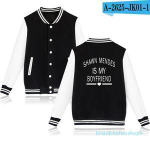 Fashion- Shawn Mendes Print Single Breasted Hoodies Women Men Streetwear V-Neck Sweatshirt Baseball Uniform Jacket Outerwear Womens