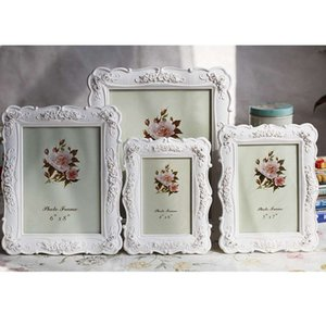 6 7 8 10 inch Wedding Photo Frames for Desktop Pastoral Style White Frame for Family Picture Rose Carved Picture Frame
