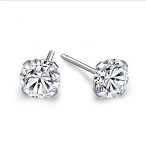 Gioielli di design all'ingrosso femminile argento s925 brillanti quattro artigli singolo diamante orecchini di design femminile nightclub sexy selvaggio singolo