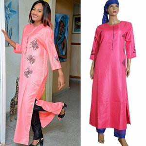 3 pieces set 2018 new fashion african clothing for women dresses pant scarf set bazin riche robe embroidery african clothes