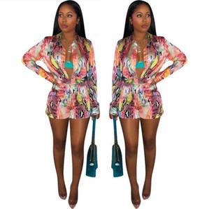 Women Fashion Two Piece Sets Lapel Neck Long Sleeve Tops and Short Pants Printed Slim Skinny Women Streetwear 2 Piece Set P522