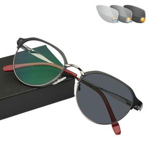 Neues Design Titanlegierung Outdoor Photochrome Lesebrille Sun Automatische Verfärbung Presbyopie Hyperopie Glasse