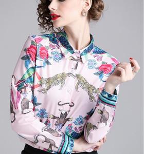 Beauitful Bird Monkey Leopard Tiger Flora Stampato Bianco Donne Blusa Camicetta Estate Contrasto Colore Donne Camicie da donna in vendita