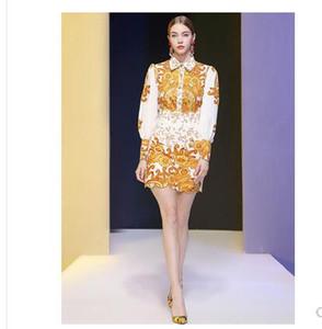 2020 yeni tasarım kadın barok çiçek baskı yaka bluz ve kalem kısa etek twinset elbise takım elbise S M L XL XXL turn down Retro
