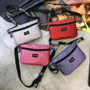 Rose lettre sac de taille Sequin Fanny Paquet Sacs de plage étanche Femmes Sac à bandoulière épaule 14 couleurs enfants sacs