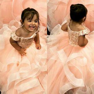 Omuz küçük kız Gelinlik Ucuz komünyon Yarışması Elbiseler Gowns Kapalı Vintage 2020 Allık Pembe Dantel Boncuklu Çiçek Kız Elbise