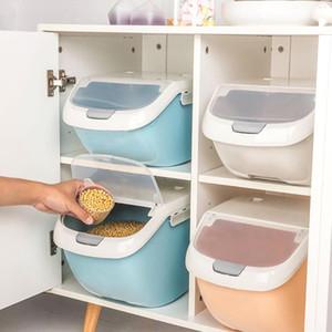 6 kg de arroz Caja de almacenamiento de gran capacidad de grano de cereal dispensador de tapa abatible de Alimentos Organizador de contenedores arroz de la cocina Caja de almacenamiento cubierta del tirón