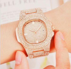 High Quality Square Diamonds men watch clock Calendar women watches leather steel gold Bracelet wristwatch Men Women relogios masculinos