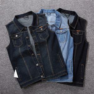 Erkek Denim Yelek Artı boyutu Yaka Boyun Gevşek Tek Breasted Yelek Homme Yaz Tasarımcı Giyim