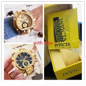 Invicta Model:20112 Reserve Bolt Zeus Gold Band Metal 18k Gold Dial Quartz Mens Watch with yellow box