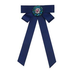 Модные детали хрустальный цветок бантом ткань лук броши для женщин клип вверх булавки воротник ну вечеринку галстук