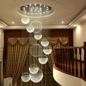 현대 샹들리에 큰 크리스탈 조명기구 로비 계단 계단 로비 긴 나선형 광택 천장 램프 플러시 장착 계단 빛