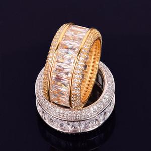 Ghiaccia fuori Anello 18 K rame fascino Oro Argento anello del partito di Hip Hop Jewelry Roccia Baguette uomo zircone