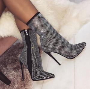 Kadın patik kış parlak elmas taklidi dekoratif yan fermuar 11.5CM yüksek topuk çizmeler moda rahat ayakkabılar kadınlar sivri
