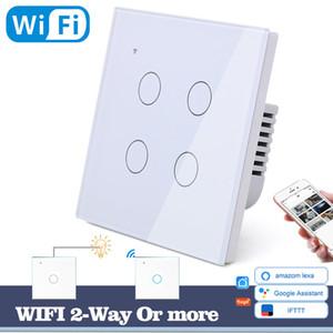 Interruptor Acessórios Interruptores WIFI toque de Wall Light interruptor de vidro branco LED azul Universal Smart Home Telefone Controle 4 Gang 2