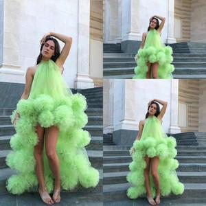 Cóctel nuevos atractivos verde Alto Bajo vestidos de baile africano Dubai tutú Faldas Cuello Partido Árabe alta Ruffles Beach Boho personalizado vestidos de noche