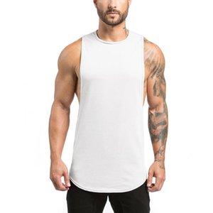 Workout Men Tank Tops Vest Causal Solid White Gym Tank Top Men Cotton Bodybuilding Sportwear Summer Running Sport Tops Sleeveles