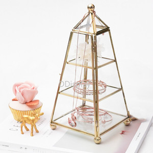 [DDisplay] Fashion Pyramid Glass Jewelry Collection Colección Metal Jewelry Stand Princess Vintage Glass Jewelry Case Reloj Pantalla Windows