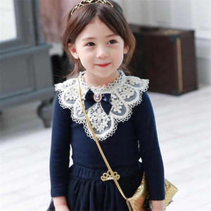 2019 Baby Girls Blouses Children Cotton Lace Clothes Teenage School Girl Basic Tops Cute Bow Navy Blue Sweatshirts 2 4 6 8 11Yrs T200229