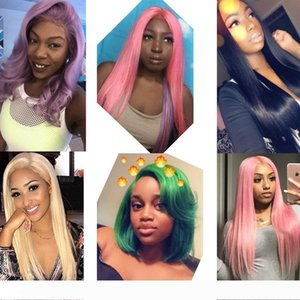 Color Lace Front Human Hair Wigs For Black Women Brazilian Wigs Remy Straight Blue Orange Purple Honey Blonde Wigs PrePlucked With Baby Hair