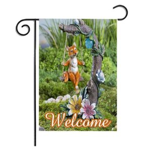 DHL-Tierdruck Garten Flag DIY Yard Hanging Flagge Haus Dekoration nk Thanksgiving Day Banner Flags nt (nicht enthalten flagpole)