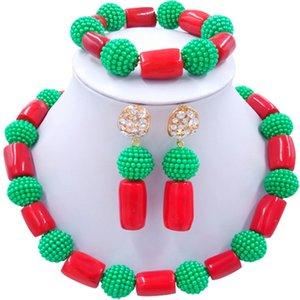 Ensembles de bijoux collier corail femmes fait à la main vert rouge rouge africain pour l'engagement 1C-ZZSH-04