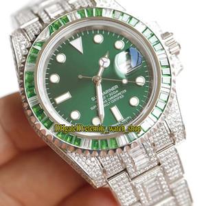 Situado en el taladro especial versión de 116610LV-97200 116610LN suiza Cal.3135 automática Verde Dial relojes de diseño del reloj para hombre de acero 904L Diamond Band