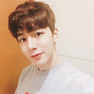 Net red wig men's Korean version of handsome students short straight short curly wig