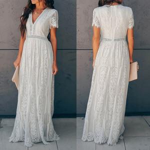 Vestidos de las mujeres del bordado cordón elegante vestido corto de la manga atractiva ganchillo v-cuello hueco verano maxi partido blanco vestido de fiesta por la noche larga ocasional