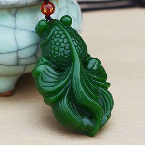 Natürliche Hetian Jasper Fisch Anhänger Hand geschnitzt Karpfen Nephrit Halskette angebaute Lanyard feine Jadeschmucksachen
