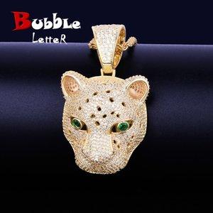 Animal Leopard head Pendant Necklaces Gold Silver Color Bling Cubic Zircon Men's Hip hop Necklace Rock Jewelry