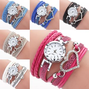 6 color ladies Love Heart watch Crystal bracelet leather watches small dial dress quartz wrist watches gift watch jewelry Wholesale JJ215