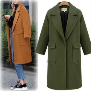 Moda Nuovo stile Autunno Loose Style Solid Wool Collo con risvolto Capispalla Monocolore Donna Cappotti stile europeo misto lana