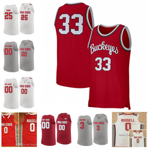 Custom Ohio State Buckeyes Baloncesto # 3 DJ Carton 34 Kaleb Wesson 23 James Conley Craft Russell Lebron Retro Jersey