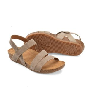 CHAMSGEND New Summer Sandals Casual Thick Bottom Horizontal Strap Sandals Female Wedge Heel Women's Shoes Plus size 43