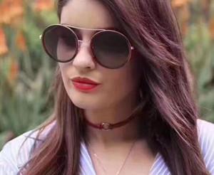 Mujeres de lujo diseñador gafas de sol estilo de moda color mixto marco redondo para mujeres gafas de protección UV de calidad superior gafas