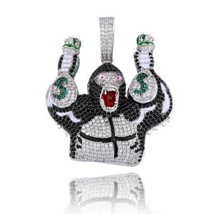 Tenis Zinciri buzlu Out Kübik Zirkon ile dolar çanta kolye kolye Hip Hop Takı ile Jinao Yeni Moda Şempanze