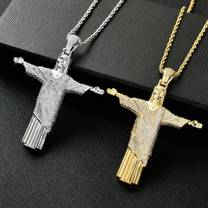 Gold Color Big Jesus Christ Pendant Pave AAA Cubic Zircon Hip Hop Designer Jewelry For Men Women With 24 Inches Rope Chain