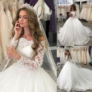 2020 Église d'hiver Princesse de mariage robe de bal à manches longues Robes de mariée grande taille balayage train dentelle perlée Applique Robe de mariée