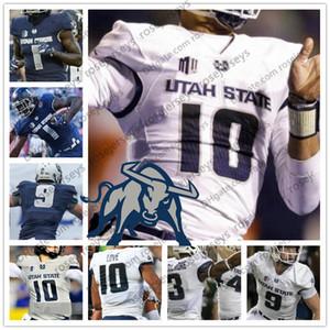 Custom Юта State Aggies 2019 Футбол Любое имя Количество Темно-синий Серый Белый 10 Любовь 16 Натан 9 Бобби Вагнер 54 Джерси 4XL