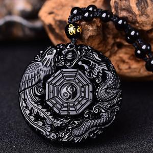 Natural Black Obsidian Carving Dragon e Phoenix Necklace Pendant Obsidian BaGua Lucky Pendant Healing Reiki Gift