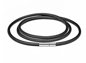 Collar de cuerda de cuerda de cuerda de cuerda simple caliente con hebilla giratoria para el collar de bricolaje pulsera de color negro encontrar de la joyería