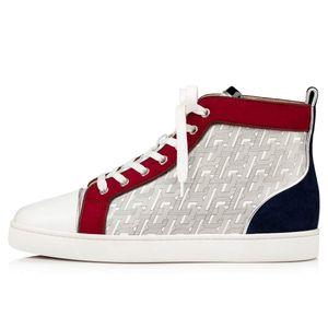 Yeni Kalite Erkekler Düz Ayakkabı Kırmızı Bottoms Sneaker Rantus Orlato Man Düz Graffiti Gerçek Deri Kırmızı Sole Tasarımcı Toptan Ücretsiz Kargo