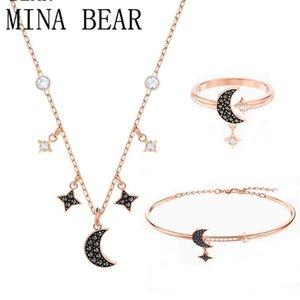 MINA OURS SWA New Black Crystal Star Bracelet Lune et de haute qualité Bracelet Swa Bijoux en cristal Journée de la femme en argent cadeau