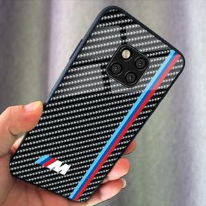 El más nuevo diseño de la insignia cubierta del carbón del coche del teléfono caja de vidrio templado M AMG para Huawei Magic 2 Mate10 P30 mate20 X Pro P10 P20 Pro
