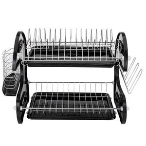 US box nuovo storage cucina il trasporto multi-funzione doppie bacchette Piatto e cucchiaio di raccolta rastrelliera scolapiatti nero
